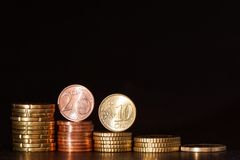 Euro coins. Euro money background for your financial copy - focus is on the coins Royalty Free Stock Image