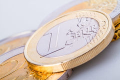 Euro coins. Macro euro coins and cents Royalty Free Stock Photography