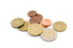 Euro coins. Isolated on white royalty free stock photos