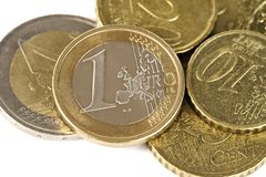 Euro Coins. Isolated over white background stock photos