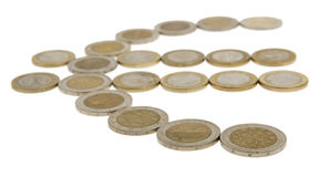 Euro coins. Hard cash isolates against a white background royalty free stock images