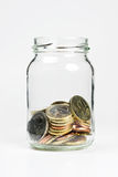 Euro coins. A jar with some small Euro coins inside Royalty Free Stock Image