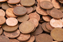 Euro coins. Close up of euro coins for background use Stock Photos