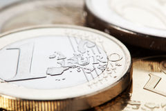 Euro Coins. Extreme close-up on a one euro coin stock photo