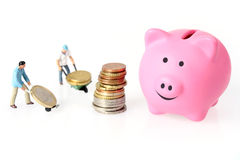 Euro Coins And Piggy Bank Royalty Free Stock Image