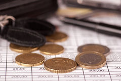 Euro coins close up Royalty Free Stock Photography