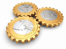 Euro coins as gear. Financial concept. Stock Images