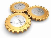 Euro coins as gear. Financial concept. vector illustration
