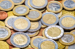 Euro coins. Background made from different countries euro coin's stock photography