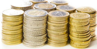 Euro coins. Background with stacks of euro coins Royalty Free Stock Photo