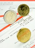 Euro coins on bank account Stock Images