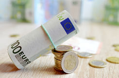 Euro coins and banknote. Stock Image