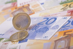 Euro coins on banknotes Royalty Free Stock Image