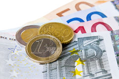 Euro coins and banknotes Royalty Free Stock Photo