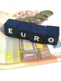 Euro coins and banknotes. Some euro notes and coins including the word euro royalty free stock image