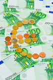 Euro coins and banknotes. Abstract business background Royalty Free Stock Photography