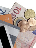 Euro coins and banknotes and contactless credit cards with NFC t Stock Photos