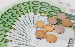 Euro coins and banknotes Royalty Free Stock Photos