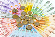 Euro coins and banknotes Royalty Free Stock Photography