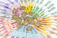 Euro coins and banknotes. money background stock image