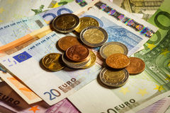 Euro coins and banknotes money. Stock Photo