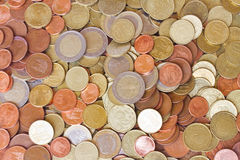 Euro coins. Big pile of mixed euro coins background Royalty Free Stock Photos