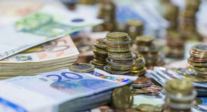 Euro Coins and Bills Royalty Free Stock Photos