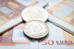 Euro coins and bills. Euro coins and napkins as bills Royalty Free Stock Photo