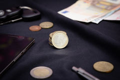 Euro coins on a black background Royalty Free Stock Photography