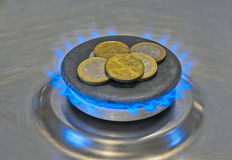 Euro Coins In a Blue Flame Gas Royalty Free Stock Image
