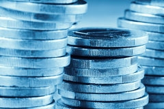 Euro coins, blue toned Royalty Free Stock Image