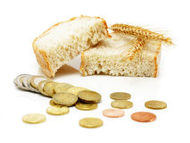 Euro coins and bread slices with grain ears Royalty Free Stock Images