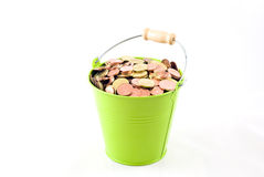 Euro Coins in a Bucket Royalty Free Stock Photo