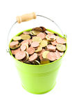 Euro Coins in a Bucket Stock Photos
