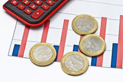Euro coins on business graph Stock Images