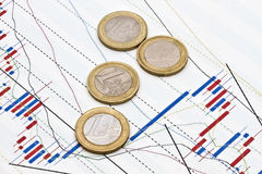 Euro coins and business graph background royalty free stock images