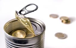 Euro coins in a can. Euro coins in an opened can Royalty Free Stock Photography