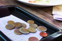 Euro coins. Euro coins on cash receipt from the restaurant Royalty Free Stock Photos