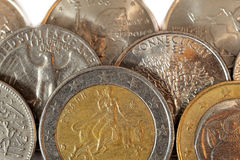 Euro coins and cents Royalty Free Stock Images