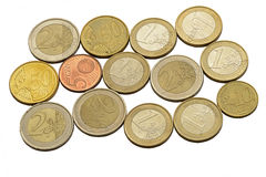 Euro coins and cents. On a white background Royalty Free Stock Images
