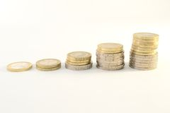 Euro coins chart Royalty Free Stock Photography