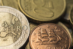 Euro coins, close up Stock Photography
