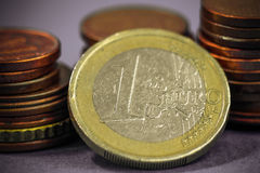 Euro coins close up shot, macro photo. Royalty Free Stock Photo