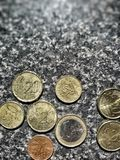 Euro coins. Closeup view of euro coins and cents Stock Images