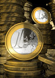 Euro coins in coin bank Royalty Free Stock Image