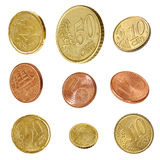 Euro Coins Collection Isolated. Euro coins collection, isolated on white. Angled one, two, five, ten, twenty and fifty Cent coins stock image