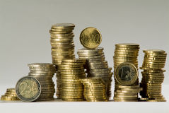 Euro coins column Stock Images