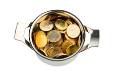 Euro coins. A cooking pot  filled with euro coins, symbolic photo for sovereign debt and financial requirements Stock Photography