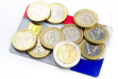 Euro coins on credit card Royalty Free Stock Photography