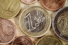 Euro coins currency of the European union Royalty Free Stock Photo